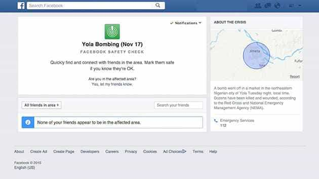 Facebook: Social Media Site Safety Check Activated Following Fatal Bombing in Nigeria
