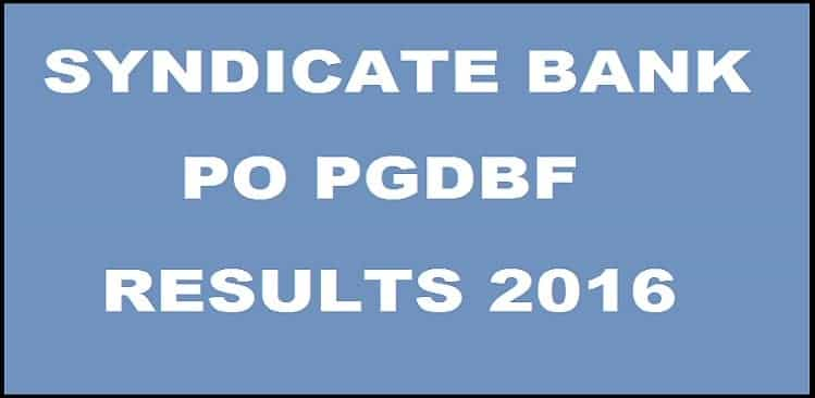 PO Results: Syndicate Bank PO results 2016 declared