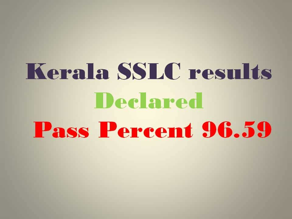 2016 Kerala SSLC results pass percent 96.59 declared