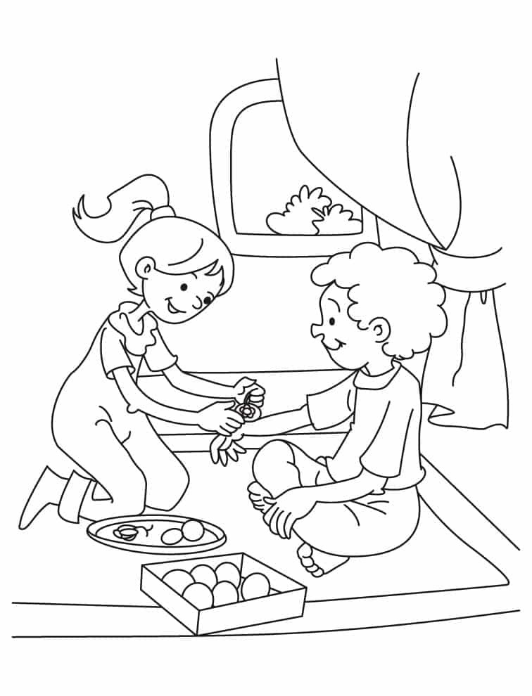 Kids Helping Family Coloring Pages
