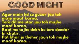 good night love shayari for girlfriend in hindi