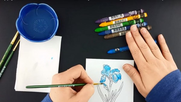 Coloring with Watercolor Crayons