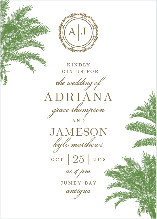 wedding invitations with palm trees