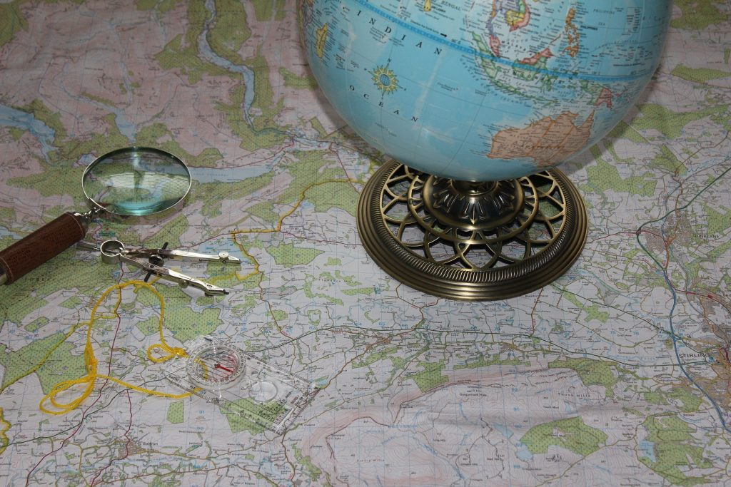 Globe and map