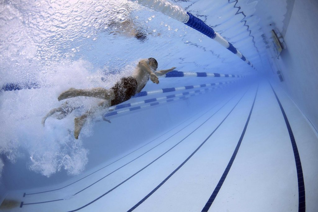Swimming to stay fit