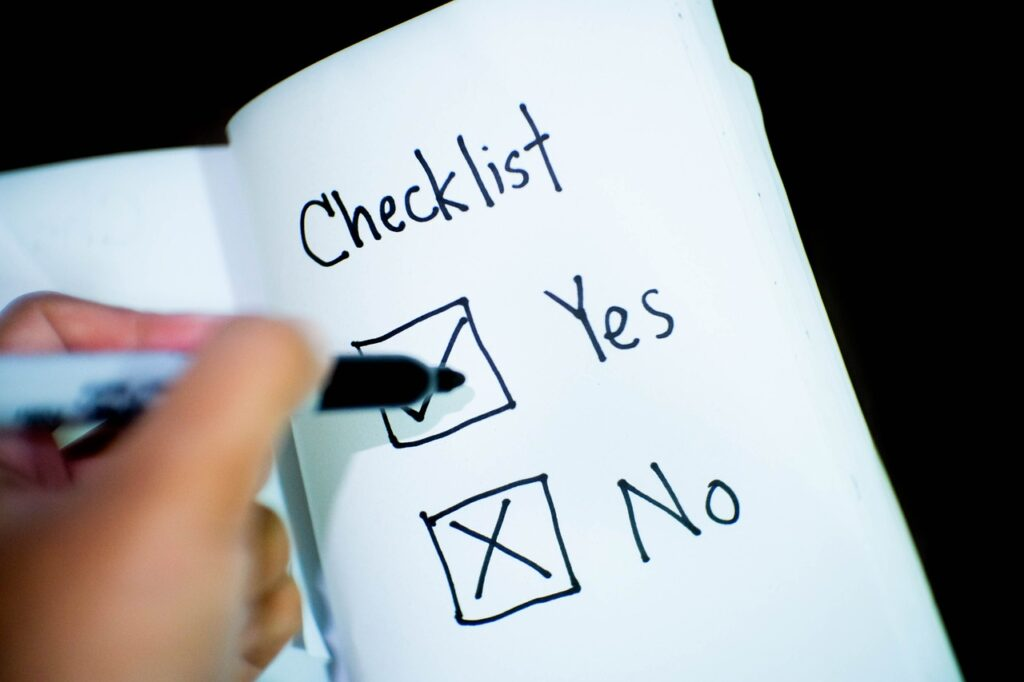 Yes/No checklist